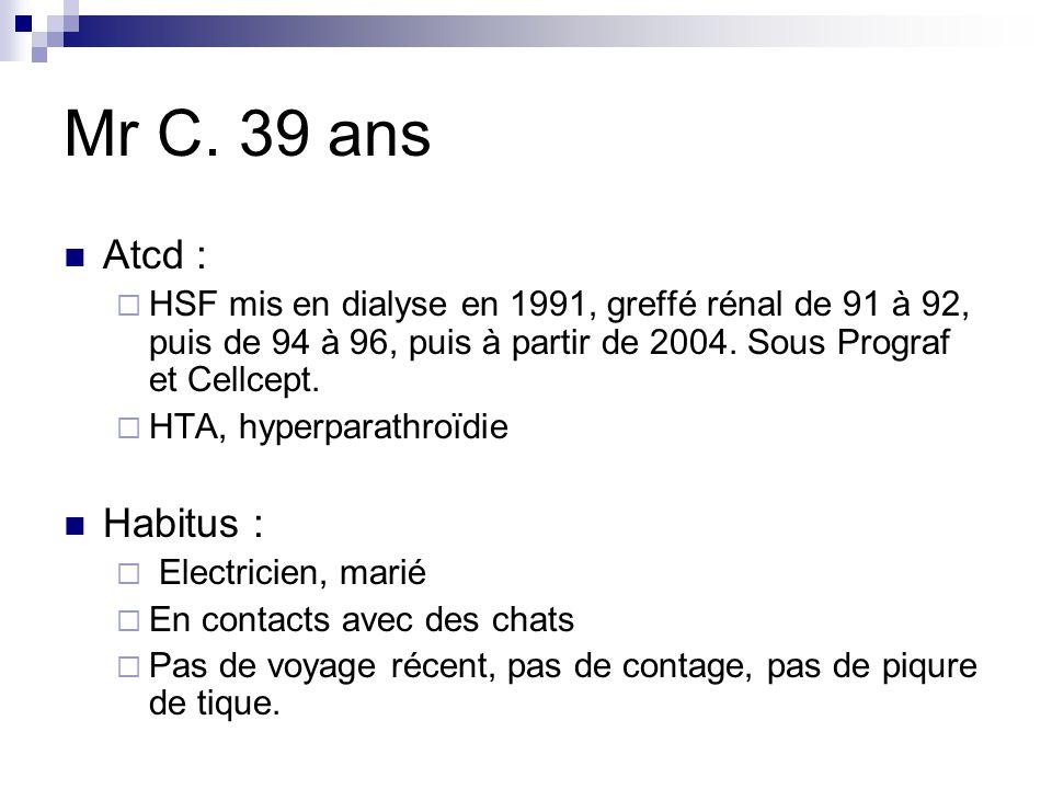 Mr C. 39 ans Atcd : HSF mis en dialyse en 1991, greffé rénal de 91 à 92, puis de 94 à 96, puis à partir de 2004. Sous Prograf et Cellcept. HTA, hyperp