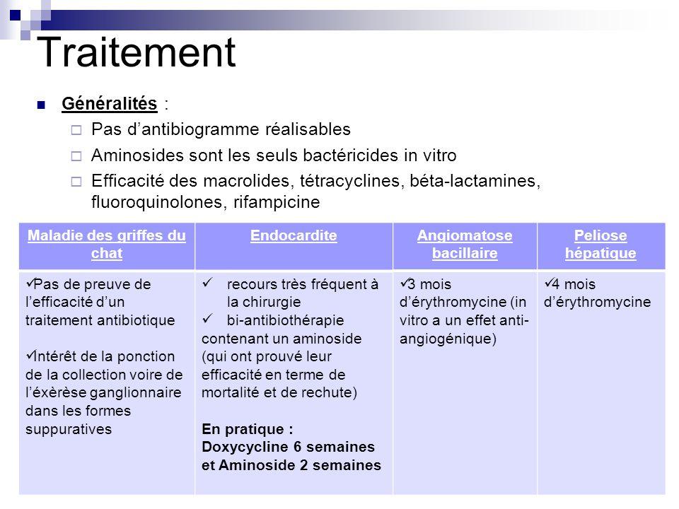 Traitement Généralités : Pas dantibiogramme réalisables Aminosides sont les seuls bactéricides in vitro Efficacité des macrolides, tétracyclines, béta