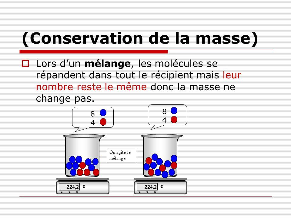 (Conservation de la masse) Lors dun mélange, les molécules se répandent dans tout le récipient mais leur nombre reste le même donc la masse ne change pas.