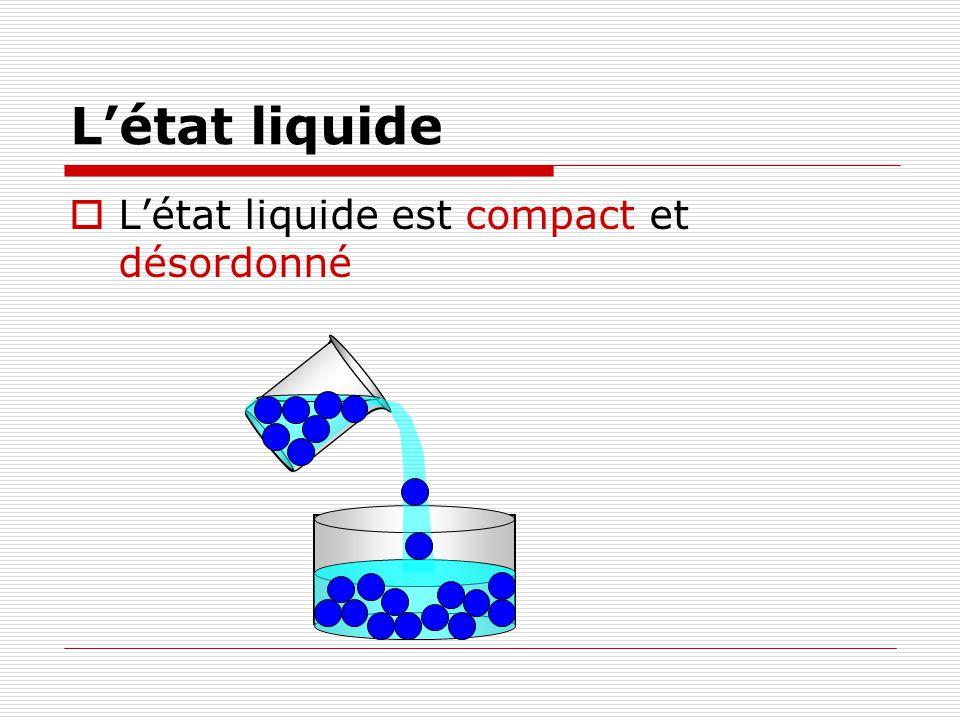 Létat liquide Létat liquide est compact et désordonné