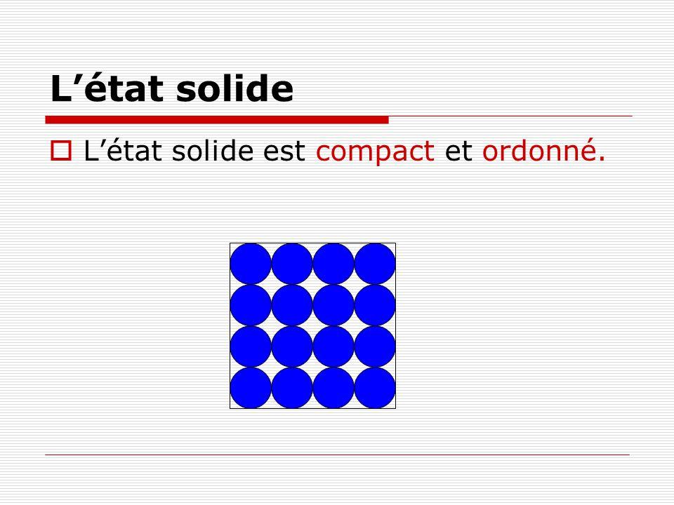 Létat solide Létat solide est compact et ordonné.