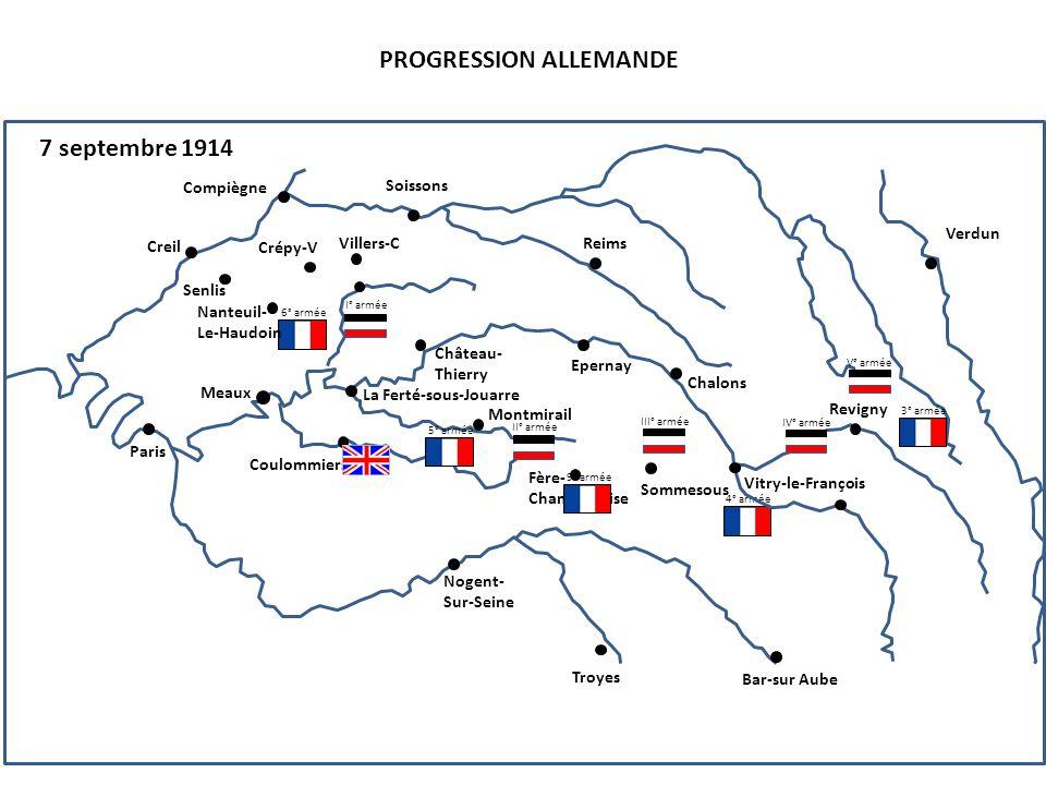 III° armée PROGRESSION ALLEMANDE 8 septembre 1914 4° armée 6° armée Compiègne Senlis Creil Nanteuil- Le-Haudoin Paris Soissons Reims Crépy-V Villers-C Château- Thierry La Ferté-sous-Jouarre Epernay Chalons Vitry-le-François Revigny Verdun Coulommiers Montmirail Fère- Champenoise Sommesous Troyes Nogent- Sur-Seine Bar-sur Aube Meaux I° armée 5° armée II° armée 3° armée V° armée IV° armée 9° armée