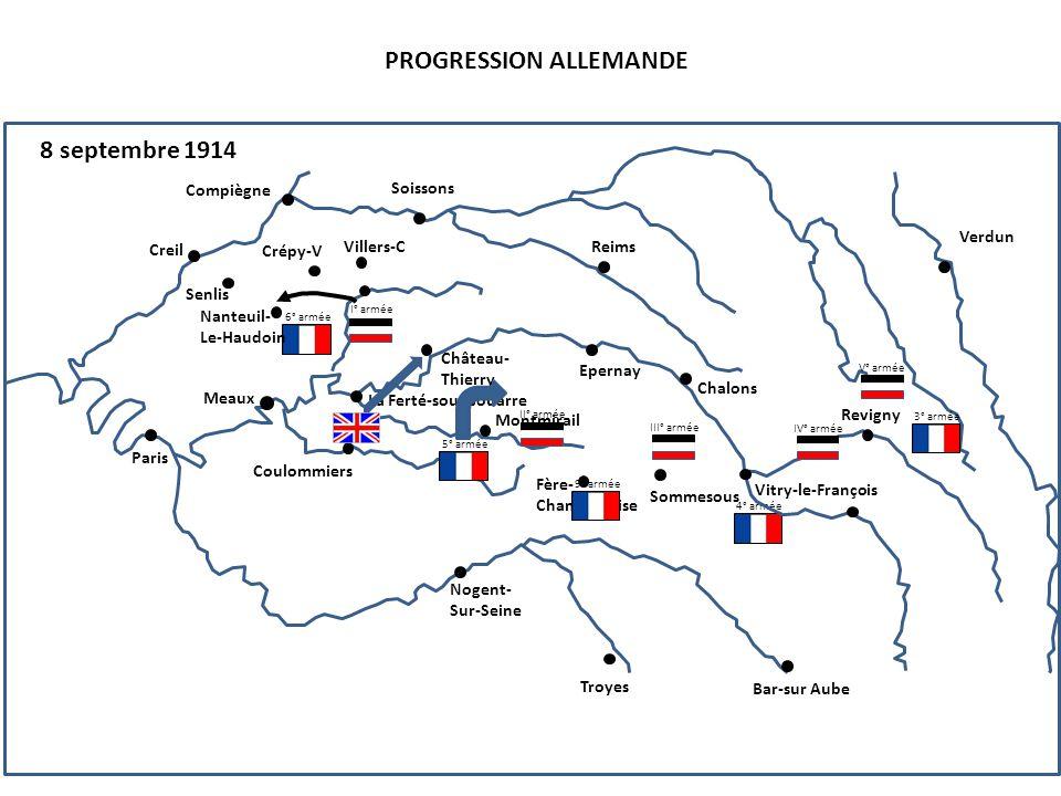 III° armée PROGRESSION ALLEMANDE 9 septembre 1914 4° armée 6° armée Compiègne Senlis Creil Nanteuil- Le-Haudoin Paris Soissons Reims Crépy-V Villers-C Château- Thierry La Ferté-sous-Jouarre Epernay Chalons Vitry-le-François Revigny Verdun Coulommiers Montmirail Fère- Champenoise Sommesous Troyes Nogent- Sur-Seine Bar-sur Aube Meaux I° armée 5° armée II° armée 3° armée V° armée IV° armée 9° armée