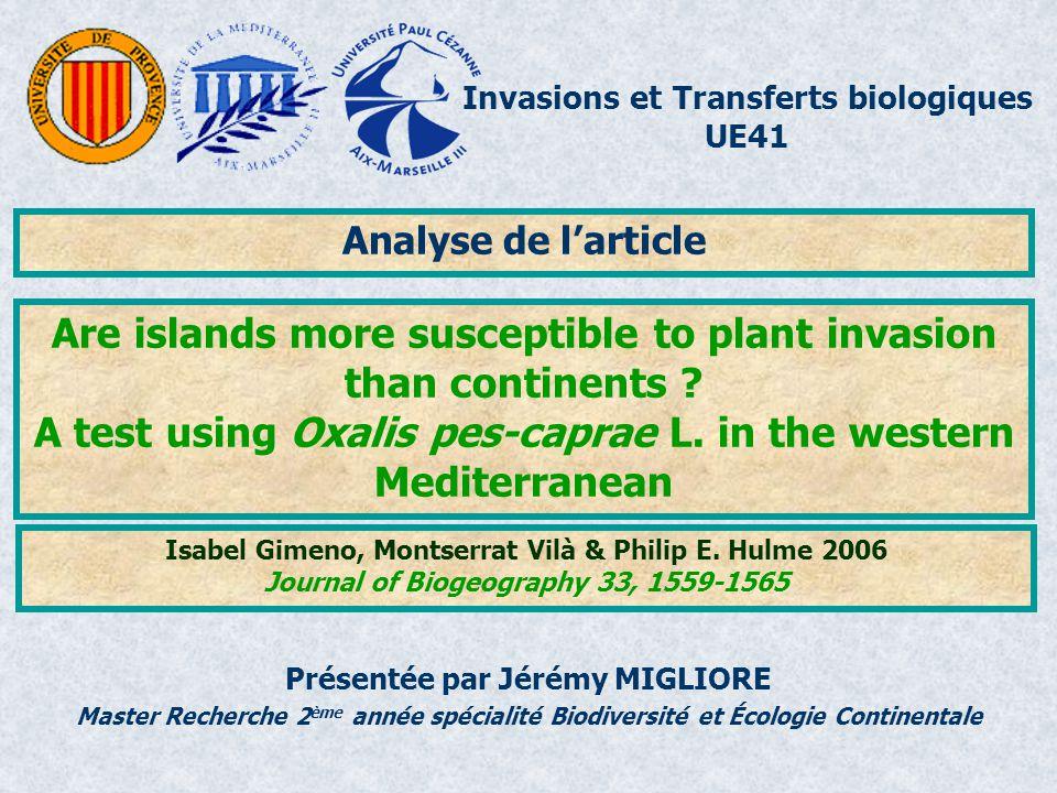 Invasions et Transferts biologiques UE41 Master Recherche 2 ème année spécialité Biodiversité et Écologie Continentale Analyse de larticle Présentée p
