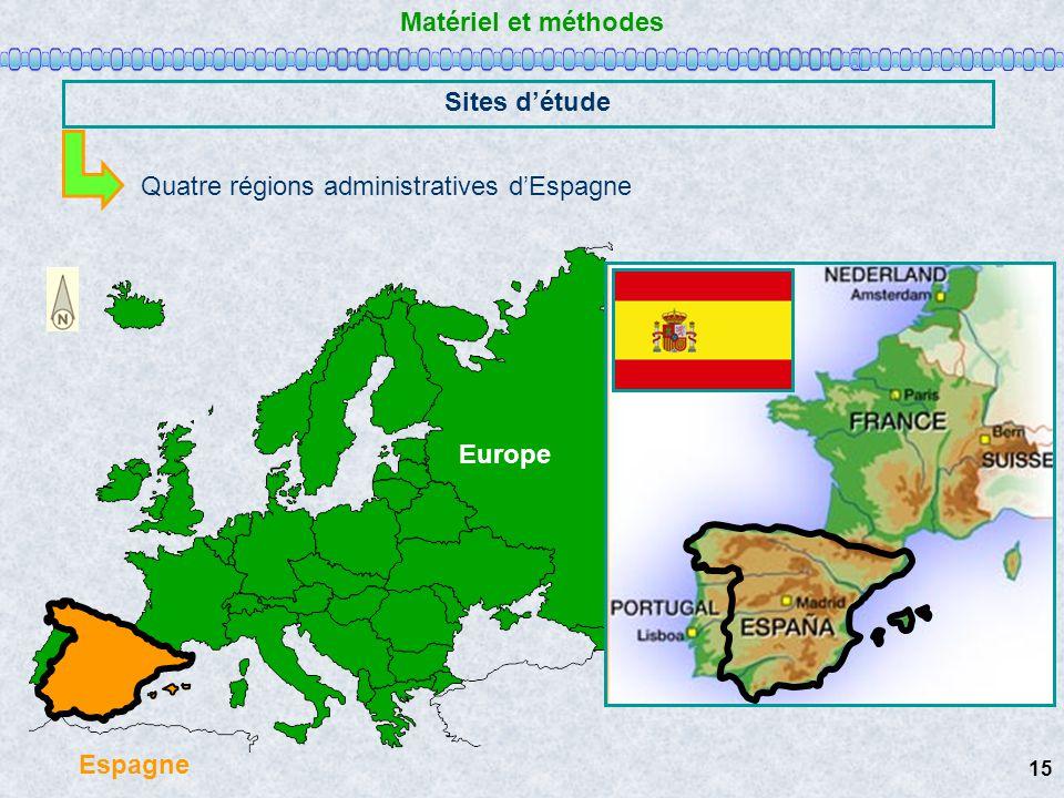 Matériel et méthodes Sites détude Quatre régions administratives dEspagne Europe Espagne 15