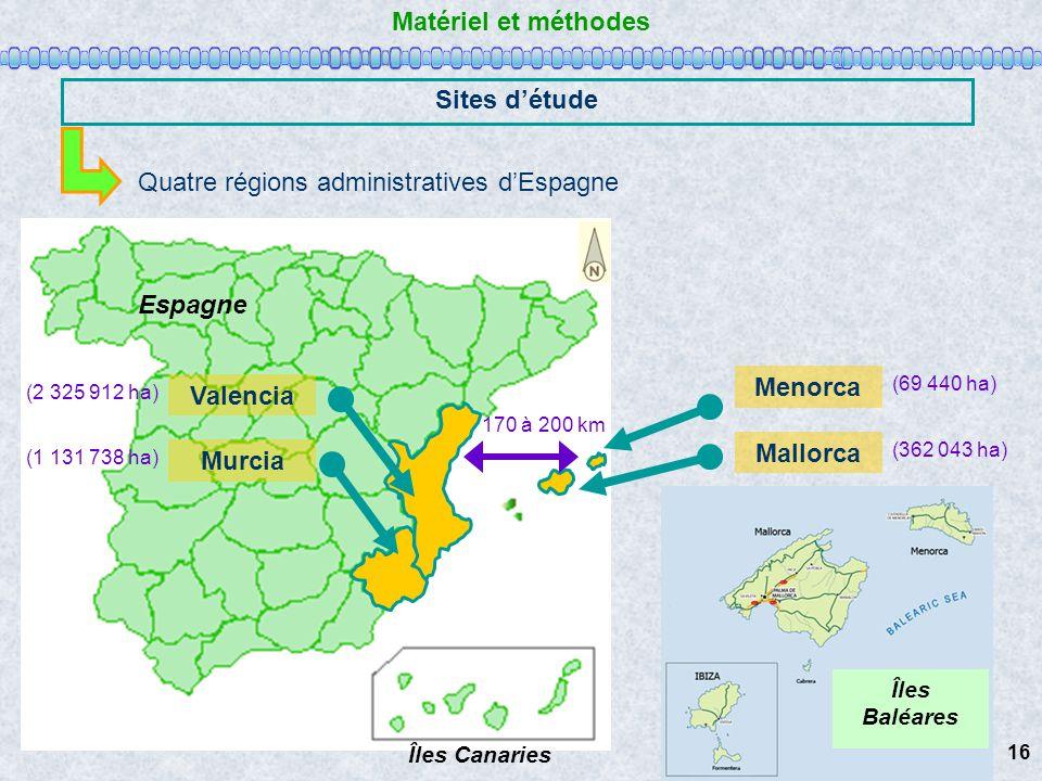 Matériel et méthodes Sites détude Quatre régions administratives dEspagne Europe Mettre flèche du Nord Espagne Îles Canaries Îles Baléares Valencia Mu