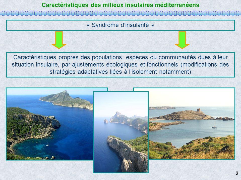 Caractéristiques des milieux insulaires méditerranéens « Syndrome dinsularité » Caractéristiques propres des populations, espèces ou communautés dues