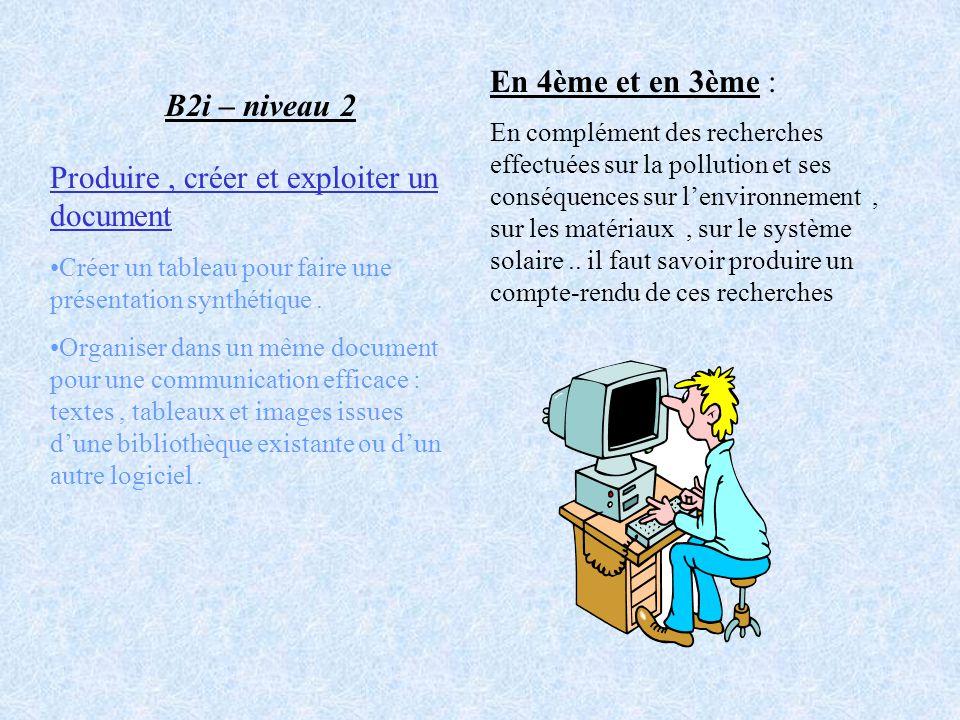 B2i – niveau 2 Produire, créer et exploiter un document Créer un tableau pour faire une présentation synthétique. Organiser dans un même document pour