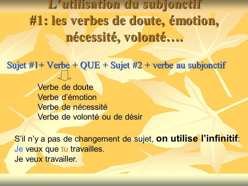 Lutilisation du subjonctif #1: les verbes de doute, émotion, nécessité, volonté….