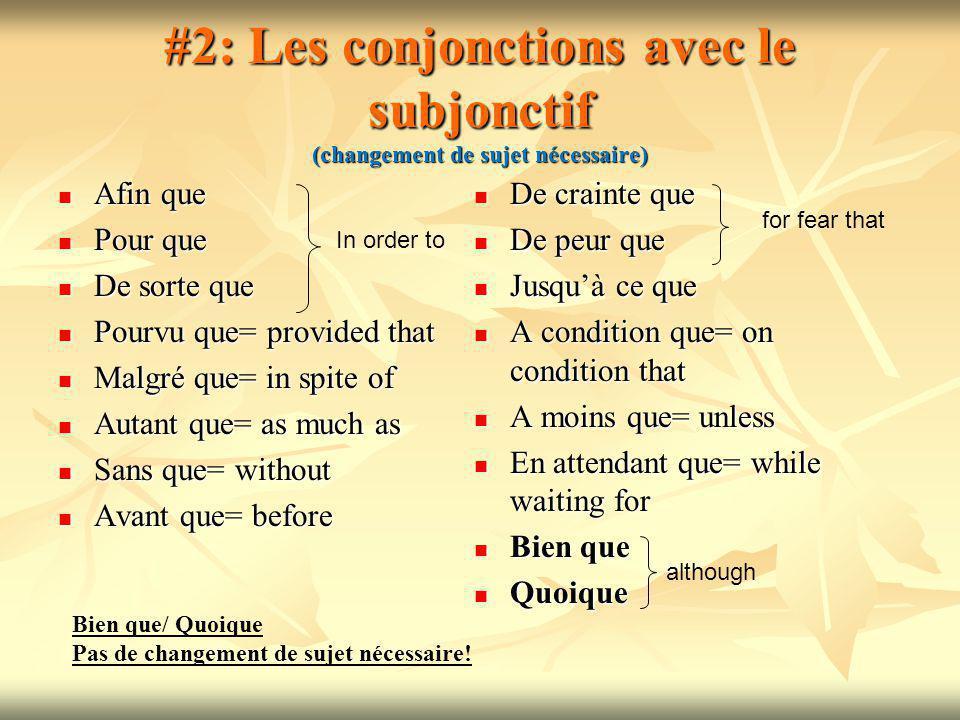 Conjonctions et Prépositions CONJONCTION + SUBJ PREPOSITION+ INF/ NOM --------------------------------------------------------------------- Pour que+ subjPour+ infinitif/ nom --------------------------------------------------------------------- Jusquà ce que +subjJusquà+ nom --------------------------------------------------------------------- Sans que + subjSans+ inf/ nom --------------------------------------------------------------------- Malgré que+ subjMalgré + nom --------------------------------------------------------------------- Afin que + subjAfin de + inf