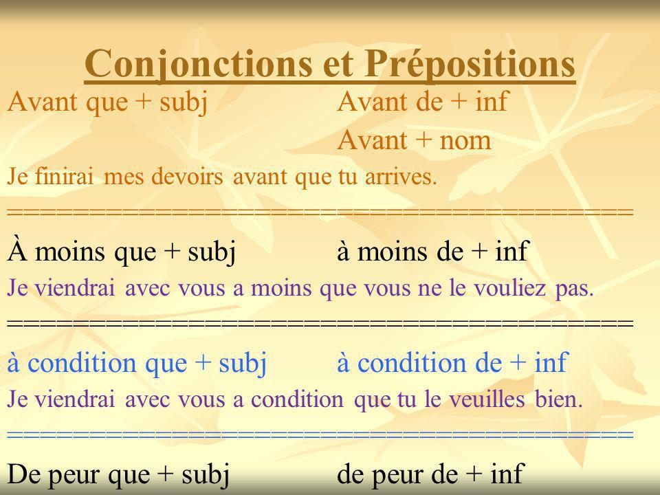 Conjonctions et Prépositions Avant que + subj Avant de + inf Avant + nom Je finirai mes devoirs avant que tu arrives.