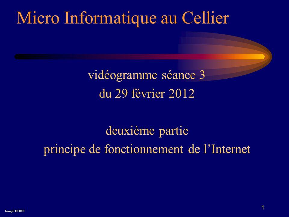 1 Micro Informatique au Cellier Joseph HOHN vidéogramme séance 3 du 29 février 2012 deuxième partie principe de fonctionnement de lInternet