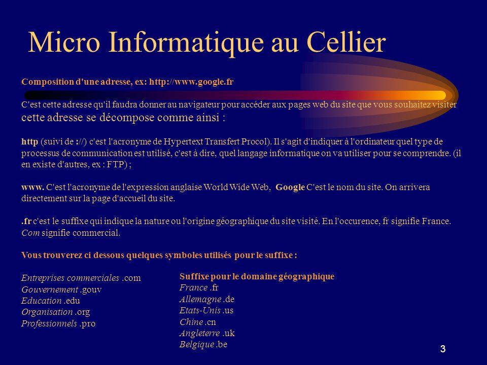3 Micro Informatique au Cellier Composition d une adresse, ex: http://www.google.fr C est cette adresse qu il faudra donner au navigateur pour accéder aux pages web du site que vous souhaitez visiter cette adresse se décompose comme ainsi : http (suivi de ://) c est l acronyme de Hypertext Transfert Procol).