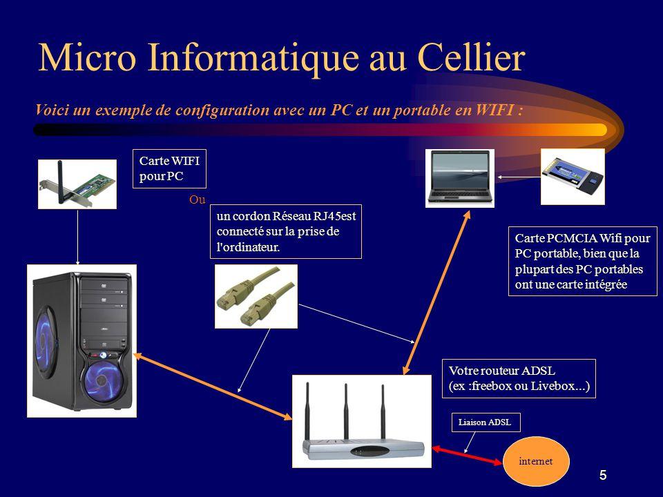 5 Voici un exemple de configuration avec un PC et un portable en WIFI : Carte WIFI pour PC Carte PCMCIA Wifi pour PC portable, bien que la plupart des PC portables ont une carte intégrée Micro Informatique au Cellier Votre routeur ADSL (ex :freebox ou Livebox...) un cordon Réseau RJ45est connecté sur la prise de l ordinateur.