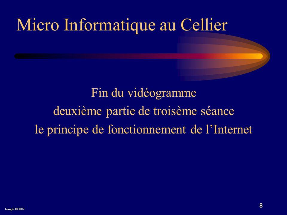 8 Fin du vidéogramme deuxième partie de troisème séance le principe de fonctionnement de lInternet Micro Informatique au Cellier Joseph HOHN