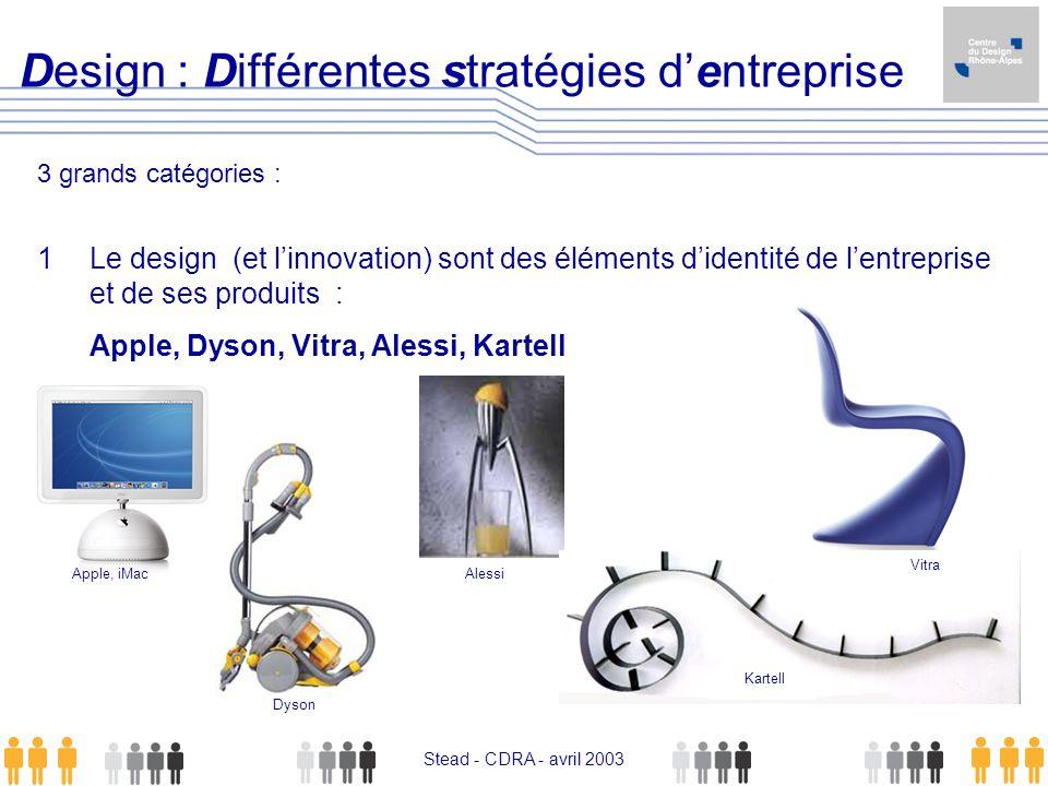 Stead - CDRA - avril 2003 Design : Différentes stratégies dentreprise 3 grands catégories : 1 Le design (et linnovation) sont des éléments didentité d