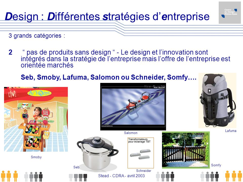 Stead - CDRA - avril 2003 Design : Différentes stratégies dentreprise 3 grands catégories : 2 pas de produits sans design - Le design et linnovation s