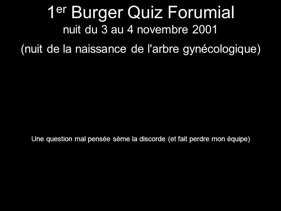 Lesbien 1 er Burger Quiz Forumial nuit du 3 au 4 novembre 2001 (nuit de la naissance de l'arbre gynécologique) Une question mal pensée sème la discord