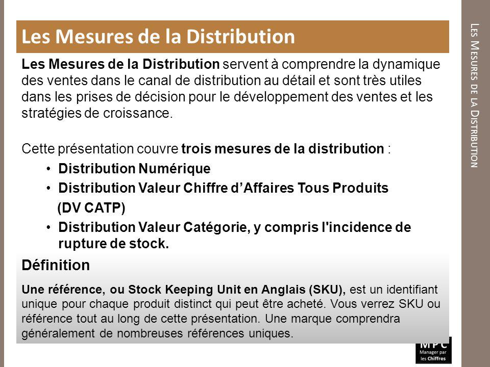 L ES M ESURES DE LA D ISTRIBUTION Les Mesures de la Distribution Les Mesures de la Distribution servent à comprendre la dynamique des ventes dans le c