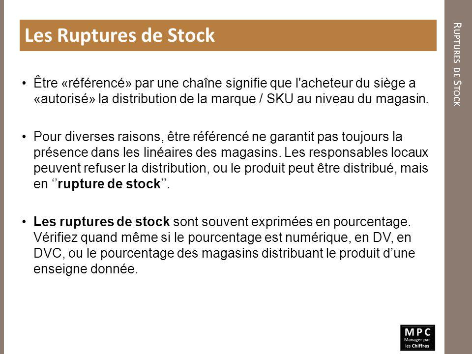 R UPTURES DE S TOCK Les Ruptures de Stock Être «référencé» par une chaîne signifie que l'acheteur du siège a «autorisé» la distribution de la marque /