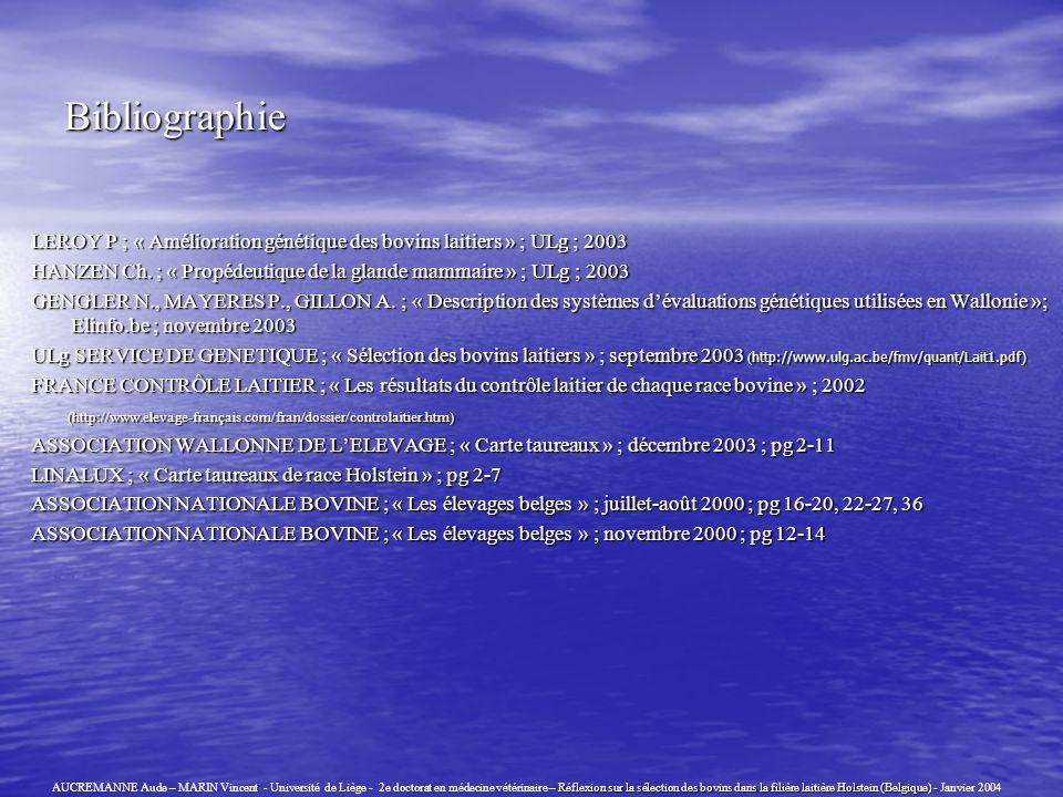 Bibliographie LEROY P ; « Amélioration génétique des bovins laitiers » ; ULg ; 2003 HANZEN Ch. ; « Propédeutique de la glande mammaire » ; ULg ; 2003
