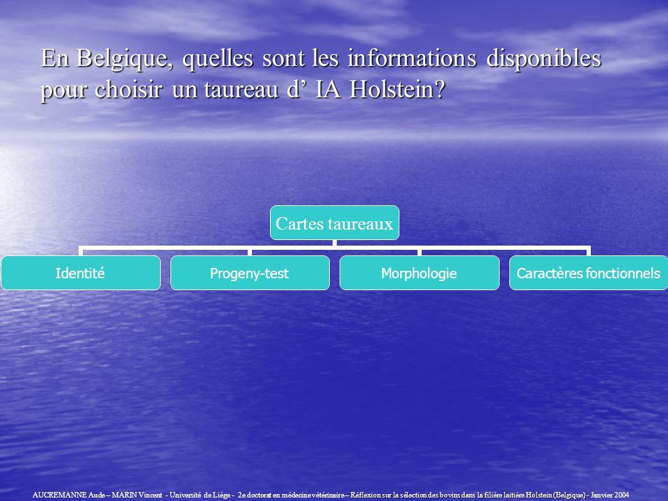 En Belgique, quelles sont les informations disponibles pour choisir un taureau d IA Holstein? Réflexion sur la sélection des bovins dans la filière la