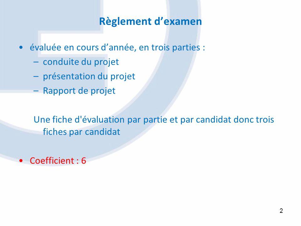 Règlement dexamen évaluée en cours dannée, en trois parties : –conduite du projet –présentation du projet –Rapport de projet Une fiche d'évaluation pa