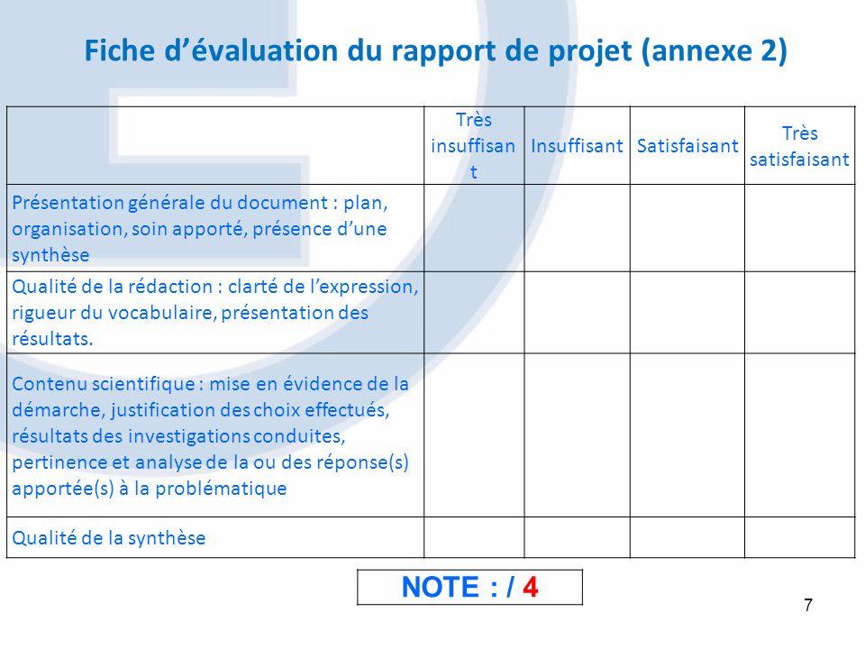 7 NOTE : / 4 Fiche dévaluation du rapport de projet (annexe 2) Très insuffisan t InsuffisantSatisfaisant Très satisfaisant Présentation générale du do