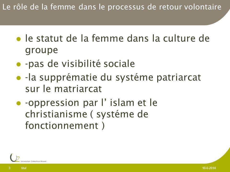 Le rôle de la femme dans le processus de retour volontaire le statut de la femme dans la culture de groupe -pas de visibilité sociale -la supprématie du systéme patriarcat sur le matriarcat -oppression par l islam et le christianisme ( systéme de fonctionnement ) titel 3 18-6-2014