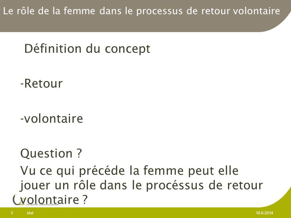 Le rôle de la femme dans le processus de retour volontaire Définition du concept -Retour -volontaire Question .