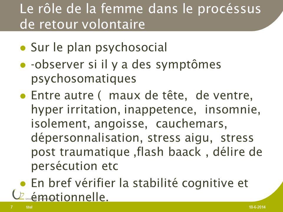 Le rôle de la femme dans le procéssus de retour volontaire Sur le plan psychosocial -observer si il y a des symptômes psychosomatiques Entre autre ( maux de tête, de ventre, hyper irritation, inappetence, insomnie, isolement, angoisse, cauchemars, dépersonnalisation, stress aigu, stress post traumatique,flash baack, délire de persécution etc En bref vérifier la stabilité cognitive et émotionnelle.