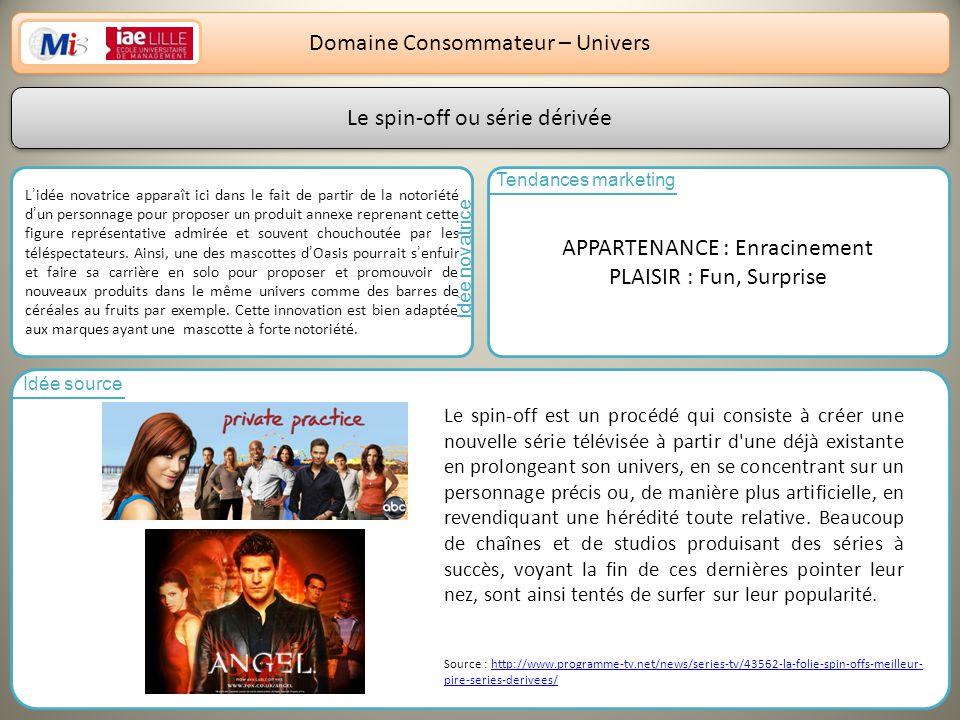 11 Domaine Consommateur – Univers Lidée novatrice apparaît ici dans le fait de partir de la notoriété dun personnage pour proposer un produit annexe r
