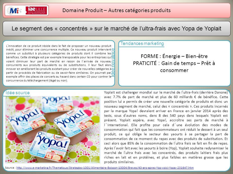 14 Domaine Produit – Autres catégories produits Linnovation de ce produit réside dans le fait de proposer un nouveau produit inédit, pour éliminer une concurrence multiple.