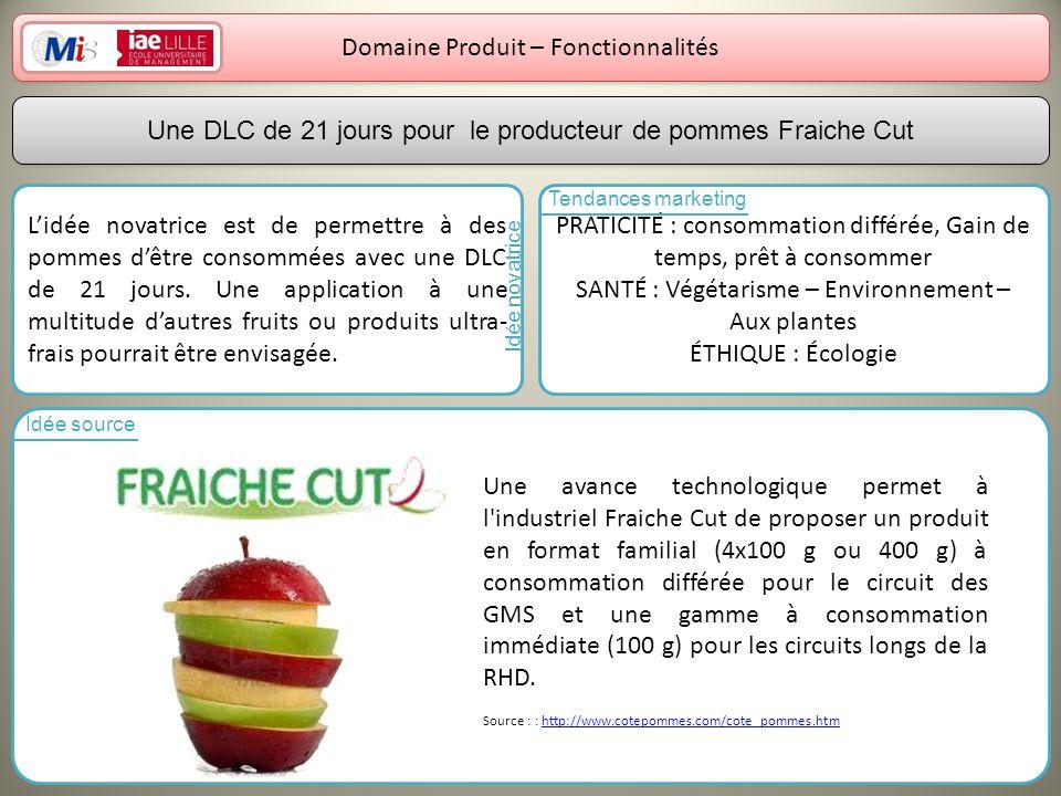 16 Domaine Produit – Fonctionnalités Lidée novatrice est de permettre à des pommes dêtre consommées avec une DLC de 21 jours. Une application à une mu