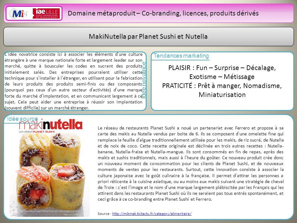 22 Domaine métaproduit – Co-branding, licences, produits dérivés MakiNutella par Planet Sushi et Nutella Lidée novatrice consiste ici à associer les éléments dune culture étrangère à une marque nationale forte et largement leader sur son marché, quitte à bousculer les codes en sucrant des produits initialement salés.
