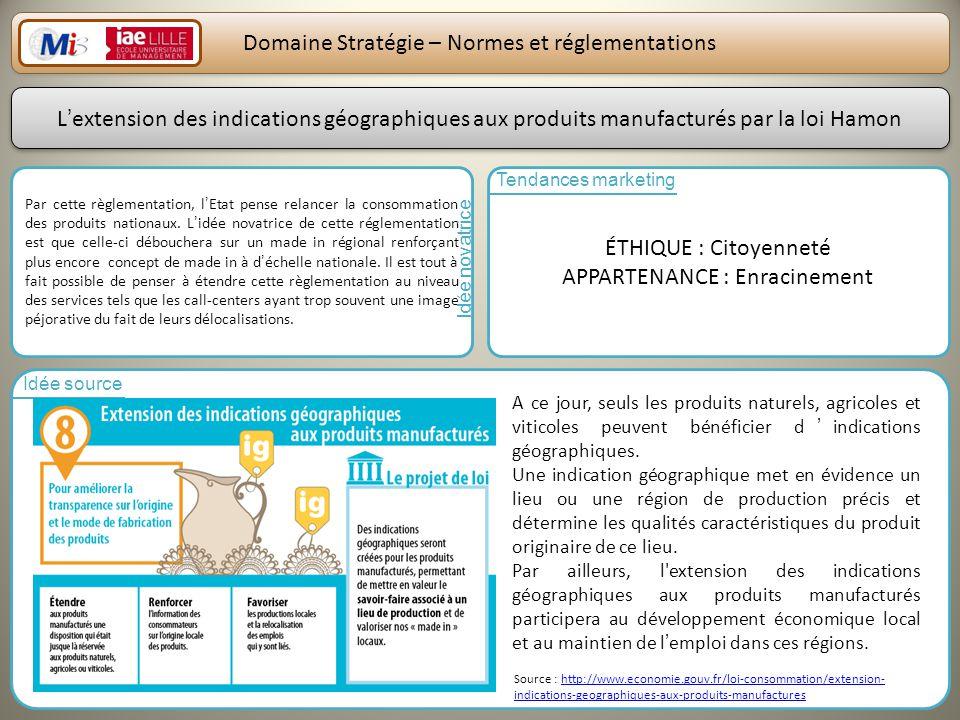23 Domaine Stratégie – Normes et réglementations Par cette règlementation, lEtat pense relancer la consommation des produits nationaux. Lidée novatric