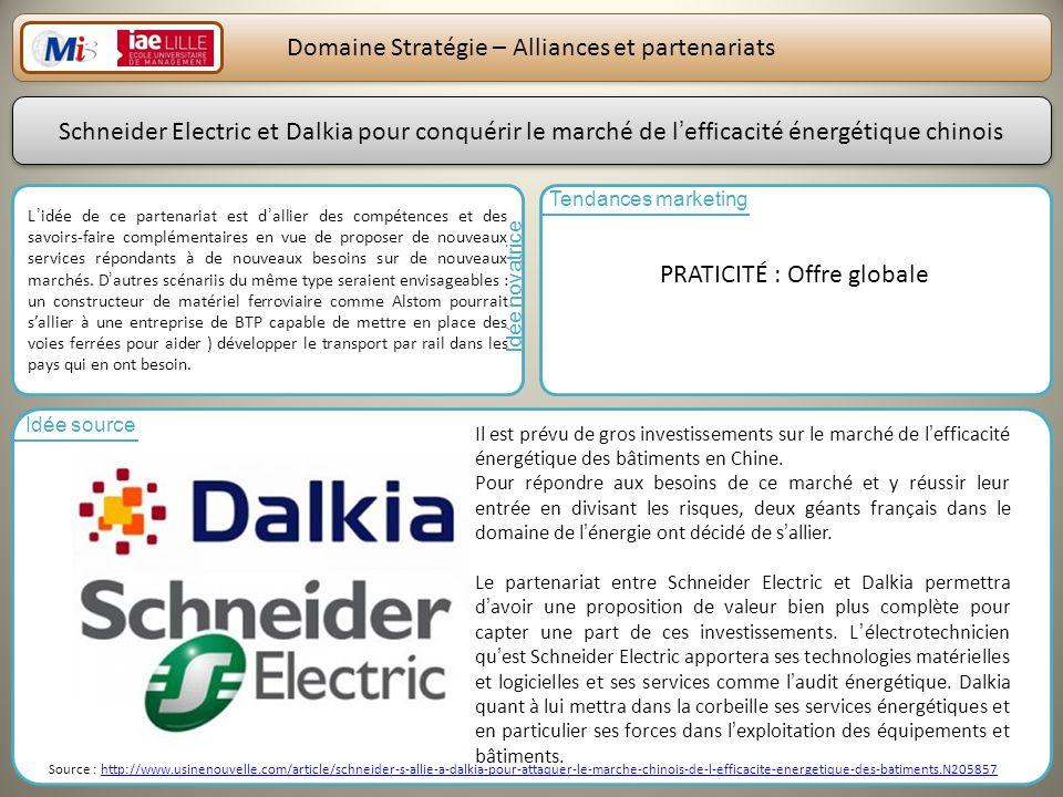 24 Domaine Stratégie – Alliances et partenariats Lidée de ce partenariat est dallier des compétences et des savoirs-faire complémentaires en vue de proposer de nouveaux services répondants à de nouveaux besoins sur de nouveaux marchés.
