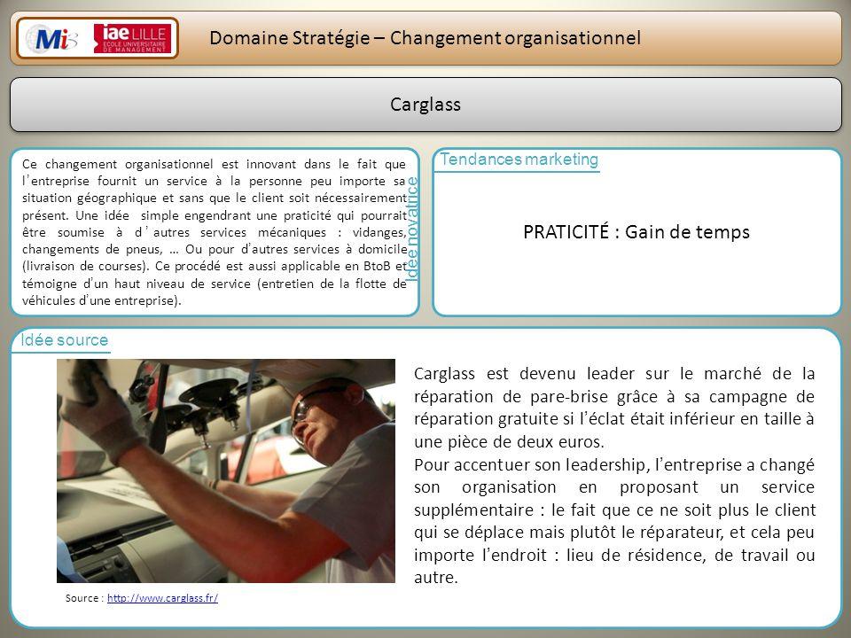 26 Domaine Stratégie – Changement organisationnel Ce changement organisationnel est innovant dans le fait que lentreprise fournit un service à la pers
