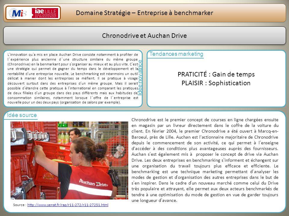 27 Domaine Stratégie – Entreprise à benchmarker Linnovation qua mis en place Auchan Drive consiste notamment à profiter de lexpérience plus ancienne d