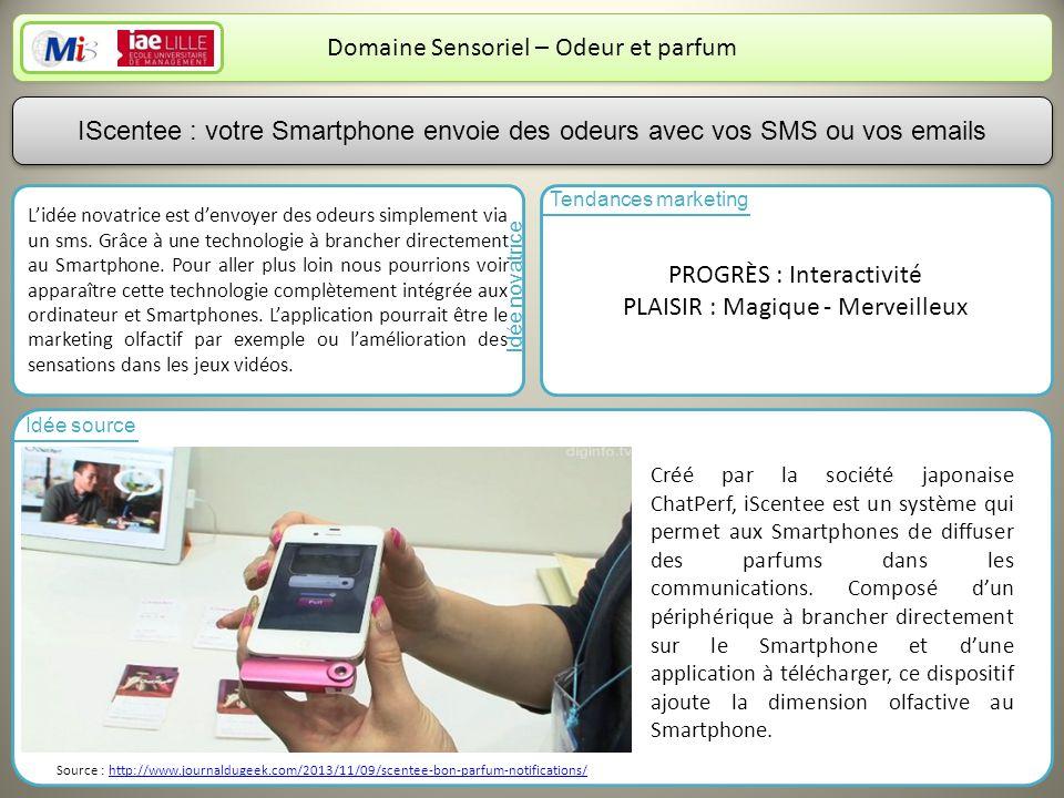 6 Domaine Sensoriel – Odeur et parfum Lidée novatrice est denvoyer des odeurs simplement via un sms.