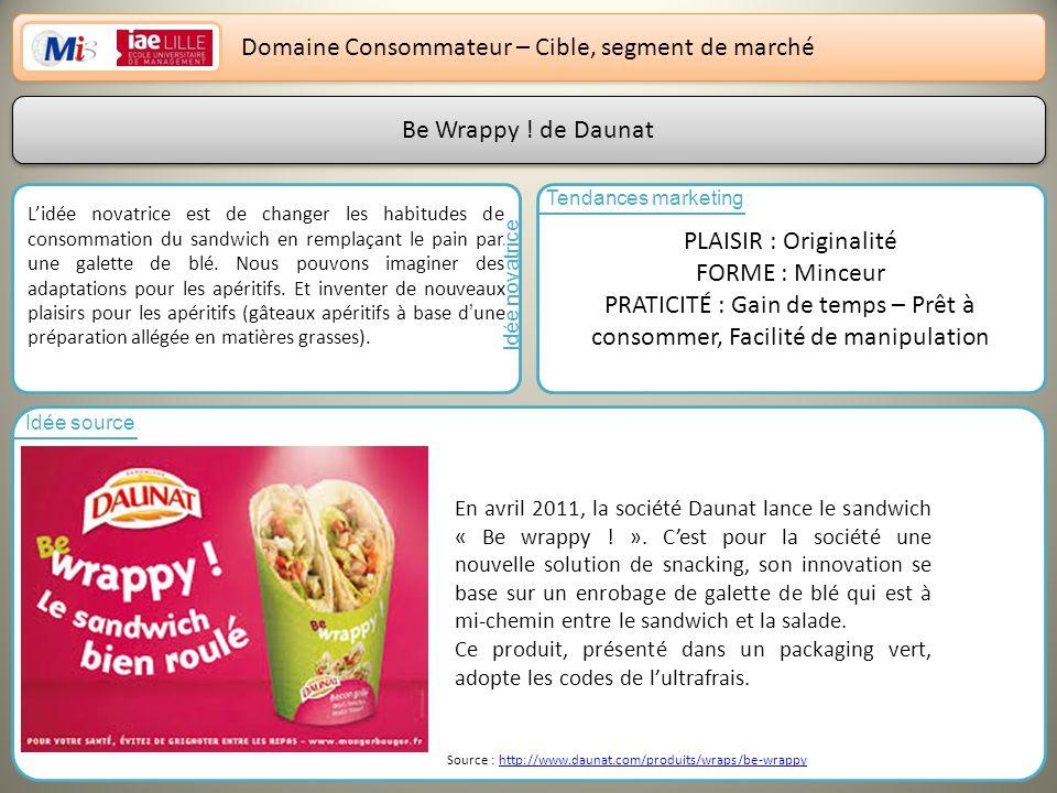 8 Domaine Consommateur – Cible, segment de marché Be Wrappy de Daunat Lidée novatrice est de changer les habitudes de consommation du sandwich en remplaçant le pain par une galette de blé.