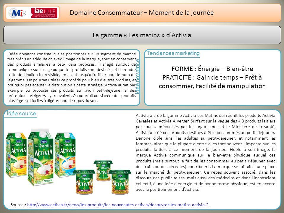 9 Domaine Consommateur – Moment de la journée La gamme « Les matins » dActivia Lidée novatrice consiste ici à se positionner sur un segment de marché