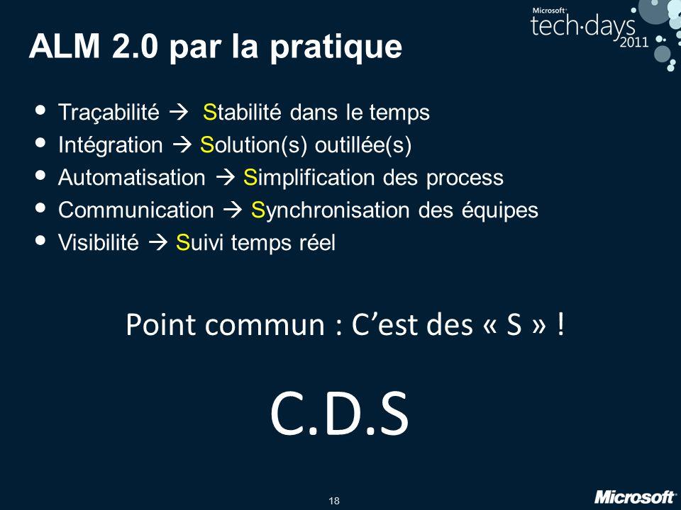 18 ALM 2.0 par la pratique Traçabilité Stabilité dans le temps Intégration Solution(s) outillée(s) Automatisation Simplification des process Communication Synchronisation des équipes Visibilité Suivi temps réel Point commun : Cest des « S » .