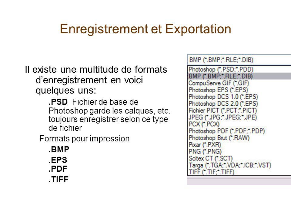 Enregistrement et Exportation Il existe une multitude de formats denregistrement en voici quelques uns:.PSD Fichier de base de Photoshop garde les calques, etc.