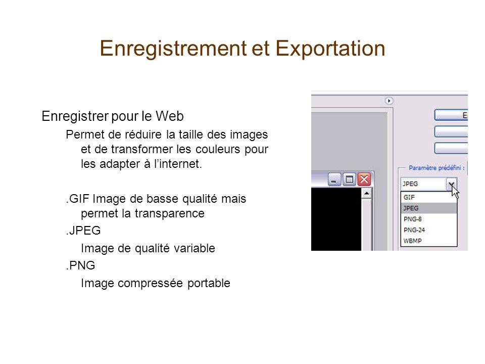 Enregistrement et Exportation Enregistrer pour le Web Permet de réduire la taille des images et de transformer les couleurs pour les adapter à linternet..GIF Image de basse qualité mais permet la transparence.JPEG Image de qualité variable.PNG Image compressée portable