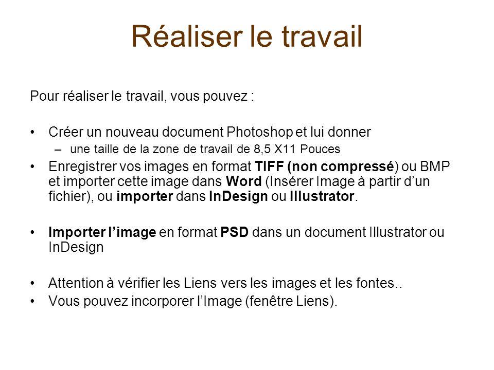 Réaliser le travail Pour réaliser le travail, vous pouvez : Créer un nouveau document Photoshop et lui donner –une taille de la zone de travail de 8,5 X11 Pouces Enregistrer vos images en format TIFF (non compressé) ou BMP et importer cette image dans Word (Insérer Image à partir dun fichier), ou importer dans InDesign ou Illustrator.