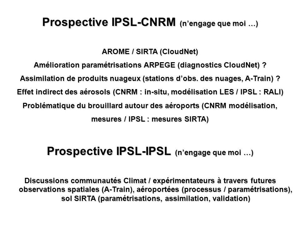 Prospective IPSL-CNRM (nengage que moi …) AROME / SIRTA (CloudNet) Amélioration paramétrisations ARPEGE (diagnostics CloudNet) ? Assimilation de produ