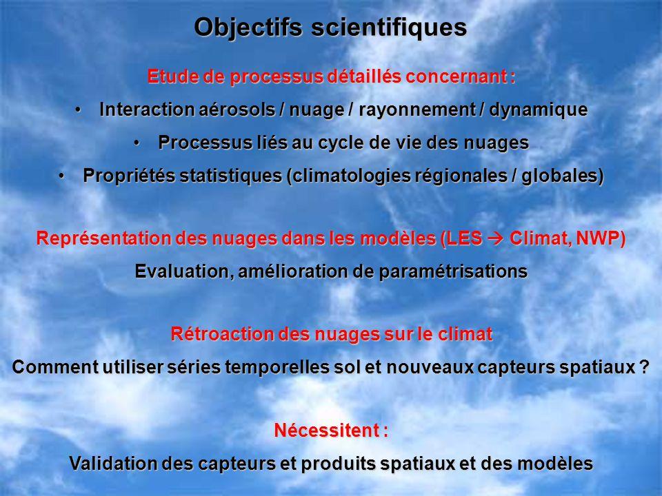 Objectifs scientifiques Etude de processus détaillés concernant : Interaction aérosols / nuage / rayonnement / dynamiqueInteraction aérosols / nuage /