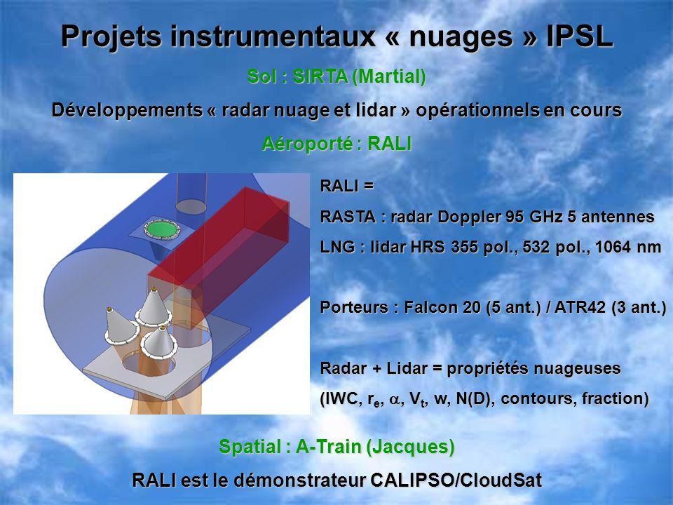 Projets instrumentaux « nuages » IPSL Sol : SIRTA (Martial) Développements « radar nuage et lidar » opérationnels en cours Aéroporté : RALI Spatial :