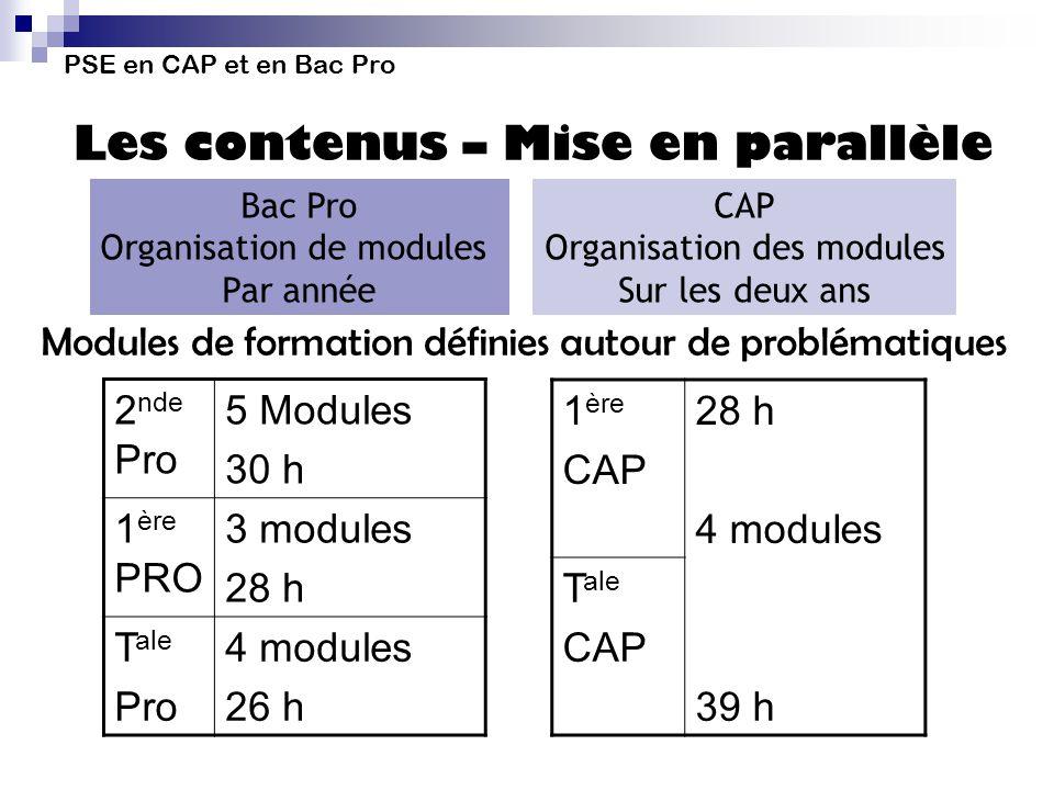 PSE en CAP et en Bac Pro Les contenus – Mise en parallèle 2 nde Pro 5 Modules 30 h 1 ère PRO 3 modules 28 h T ale Pro 4 modules 26 h 1 ère CAP 28 h 4